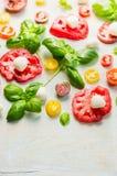 Bestandteile für traditionalitalian Tomatenmozzarellasalat Stockfotos