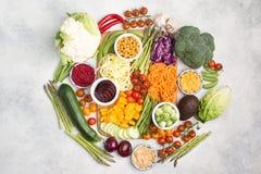 Bestandteile für vegetarische Snackbuddha-Schüssel Stockbild