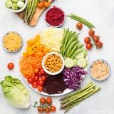 Bestandteile für vegetarische Snackbuddha-Schüssel Stockfotos
