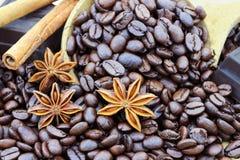 Bestandteile für feinschmeckerischen Kaffee Stockfoto