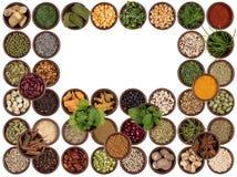 Bestandteile kochen - Aroma und Würze - Raum für Text Stockbild