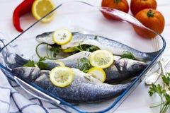Bestandteile von den frischen Fischen und vom Gemüse stockfotos