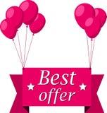 Beste aanbiedings roze vlak lint met ballons Stock Afbeeldingen