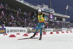 Beste biathlete van het seizoen 2017/2018 Martin Fourcade France Royalty-vrije Stock Fotografie