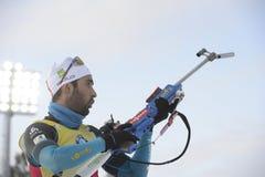 Beste biathlete van het seizoen 2017/2018 Martin Fourcade France Royalty-vrije Stock Afbeelding