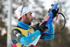 Beste biathlete van het seizoen 2017/2018 Martin Fourcade France Stock Afbeeldingen