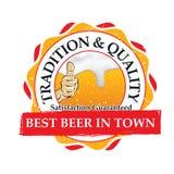 Beste bier in stad, Traditie en kwaliteit; zegel voor druk Stock Afbeelding