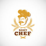 Beste Chef-kok Abstract Vector Sign, Symbool of Logo Template Retro Toekenningsembleem Kok Face in een Hoed met Spicas en Stock Afbeelding