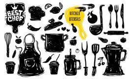 Beste Chefkochschulelogoentwurfsaufkleber-Plakatfahne Küchengerät-Nahrungsmittelelemente vektor abbildung