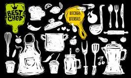 Beste Chefkochschulelogoentwurfsaufkleber-Plakatfahne Küchengerät-Nahrungsmittelelemente lizenzfreie stockbilder