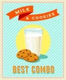 Beste combo - uitstekend restaurantteken Retro gestileerde affiche met glas melk en koekjes stock illustratie