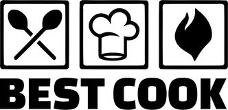 Beste Cook Cooking Icons Kitchen royalty-vrije illustratie