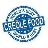 Beste creoolse het voedsel grungy rubberzegel van de ronde blauwe wereld die op wit wordt geïsoleerd stock illustratie