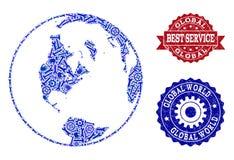Beste de Dienstcollage van Kaart van Globale Wereld en Gekraste Watermerken royalty-vrije illustratie
