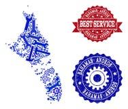 Beste de Dienstcollage van Kaart van de Verbindingen van de Bahamas - Andros van het Eiland en van de Nood stock illustratie