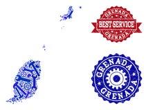 Beste de Dienstsamenstelling van Kaart van de Eilanden van Grenada en Geweven Watermerken stock illustratie
