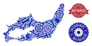 Beste de Dienstsamenstelling van Kaart van Groot Inagua Eiland en Rubberzegels stock illustratie