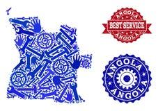 Beste de Dienstsamenstelling van Kaart van de Verbindingen van Angola en Grunge- vector illustratie