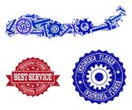 Beste de Dienstsamenstelling van Kaart van de Zegels van Indonesi? - van het Eiland en van Grunge van Flores vector illustratie