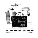 Beste Einkaufenausflug-Auslegungschablone Stilvolles Plakatskizze desi Stockfotos
