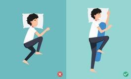 Beste en slechtste posities voor slaap, illustratie vector illustratie