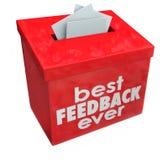 Beste Feedback-überhaupt Vorschlags-Kasten-Ideen-Input-Kommentare Stockbilder