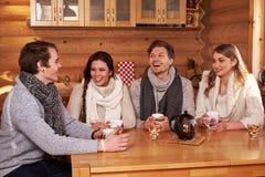 Beste Freunde, die heißen Tee in der angenehmen Küche am Winterhäuschen trinken Stockbilder