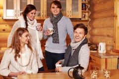Beste Freunde, die heißen Tee in der angenehmen Küche am Winterhäuschen trinken Lizenzfreie Stockfotos