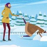 Beste Freunde, die Spaß an der Eisbahn haben Stockbild