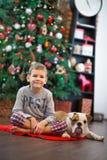 Beste Freunde hübsche blonde Junge und des Welpen rote weiße englische Bulldogge, die Zeit mit einander nah an Weihnachtsbaum ver Stockbild