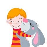 Beste Freunde Nette Karikaturen Junge und Kaninchen Passend für Ostern-Design Lizenzfreies Stockbild