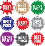 Beste geplaatste prijstekens, de beste reeks van de prijssticker, vectorillustratio Stock Afbeelding