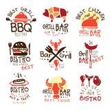 Beste Grill-Bar Promo-Zeichen eingestellt von den bunten Vektor-Design-Schablonen mit Lebensmittel-Schattenbildern stock abbildung