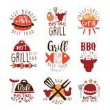Beste Grill-Bar Promo-Zeichen-Reihe bunte Vektor-Design-Schablonen mit Lebensmittel-Schattenbildern stock abbildung