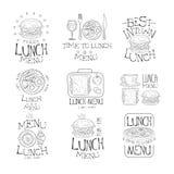 Beste in het Menureeks van de Stadslunch Hand Getrokken Zwart-witte Malplaatjes van het Tekenontwerp met Kalligrafische Teksten stock illustratie
