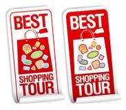 Beste het winkelen reisstickers. Stock Foto's