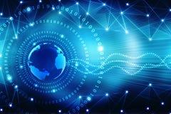 Beste Internet-Concept globale zaken, Digitale Abstracte technologieachtergrond Elektronika, WiFi, stralen, symbolen tele Interne stock illustratie