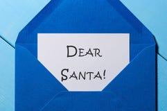 Beste Kerstman Beginbrief met wens aan S claus Vooravond, Kerstmis en Nieuw jaarconcept Stock Afbeeldingen