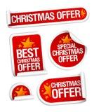 Beste Kerstmis biedt stickers aan. stock illustratie