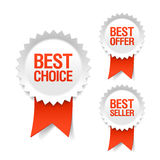 Beste keus, aanbiedings en verkopersetiketten met lint Stock Foto