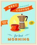 Beste koffie - uitstekend restaurantteken Retro gestileerde affiche met kop van koffie en koffiepot vector illustratie