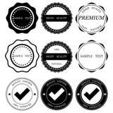 Beste kwaliteitszegels, inzameling van de stickers de vectorillustratie De waarde van het zegelcertificaat Zwarte op witte achter royalty-vrije illustratie