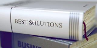Beste Lösungen - Buch-Titel 3d Stockbild