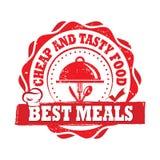 Beste Maaltijd, Goedkoop en Smakelijk voedsel - geëtiketteerd voor het drukken geschikt royalty-vrije illustratie