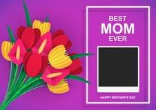 Beste Mamma ooit Gelukkige moeder`s dag Kleurrijk boeket van bloemen met gelukwensen en een plaats voor fotografie royalty-vrije illustratie