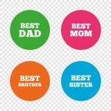Beste Mutter und Vati, Bruder, Schwesterikonen Stockbilder