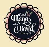Beste Nana in het Wereldembleem vector illustratie