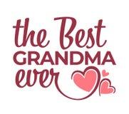 Beste oma ooit gelukwens die geïsoleerd pictogram van letters voorzien royalty-vrije illustratie