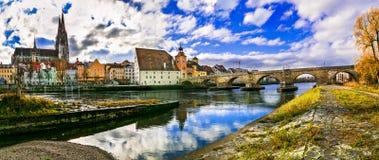 Beste Orte von Bayern, malerisches Regensburg über Donau, Deutschland lizenzfreie stockfotografie
