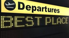 BESTE PLAATSwoorden die op de raad van het luchthavenvertrek verschijnen Het conceptuele 3d teruggeven Royalty-vrije Stock Foto's